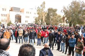 وقفة بجامعة الحسين بن طلال ضد صفقة القرن (صور)