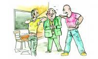 تلميذ يحاول خنق أستاذه