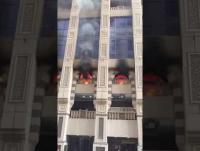 حريق بأبراج مكة (فيديو)