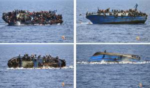 صور مروعة لزورق على متنه 562 مهاجراً يغرق في البحر المتوسط