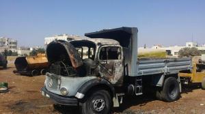 "اندلاع حريق بـ ""قلاب"" في اربد (صور)"