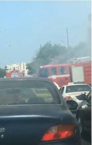 حريق قرب السفارة الأمريكية (فيديو)
