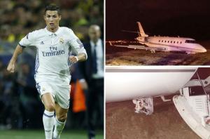 تحطم طائرة رونالدو الخاصة في برشلونة ( صور )