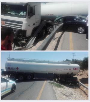 تصادم مركبة مع شاحنة نقل محروقات على طريق المطار