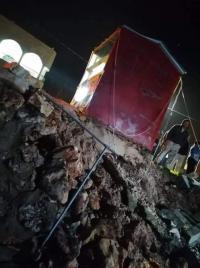 انهيار جدار استنادي بسبب الامطار في عجلون (صور)