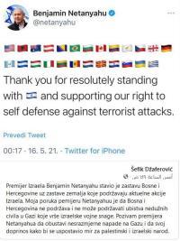 رئيس البوسنة والهرسك يكذب نتنياهو