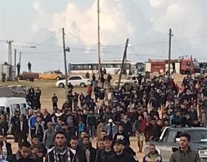 """40 اصابة بقمع الإحتلال مسيرة """" التطبيع جريمة وخيانة """" بغزة"""
