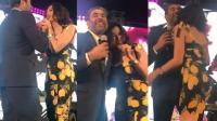 احضان بين نادين الراسي ووائل كفوري على المسرح (فيديو)