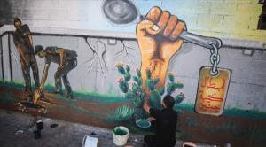 """غزة ..  """"جدارية وفاء"""" لأسرى """"جلبوع"""" الستة"""
