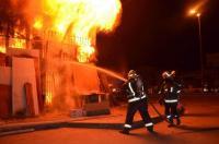 حريق 5 محلات وحافلة داخل مجمع المحطة