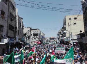 """مسيرة الحسيني: """"باسم الأردن وفلسطين صفقة القرن بندين"""" (فيديو)"""