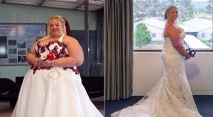 امرأة تخسر نصف وزنها لتعيد حفل زفافها