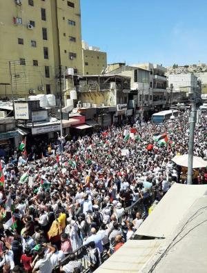 مسيرة حاشدة في وسط البلد لنصرة القدس وغزة  ..  (صور)