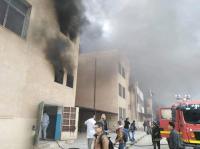 27 اصابة بحريق مدرسة مصعب في الرمثا (صور)