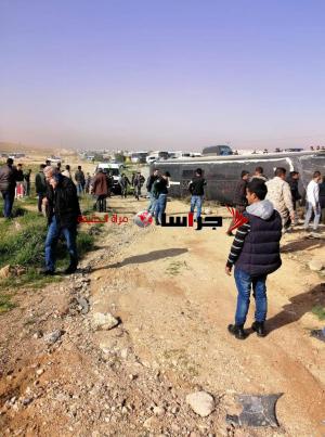 """وفاة و 37 إصابة بتدهور حافلة على طريق """"المفرق الزرقاء"""" - صور وفيديو"""