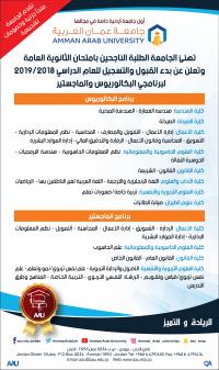 """""""عمان العربية"""" تعلن عن فتح باب القبول والتسجيل"""