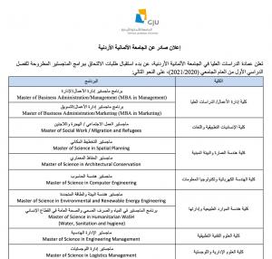 بدء استقبال طلبات الالتحاق ببرامج الماجستير بالجامعة الألمانية الأردنية