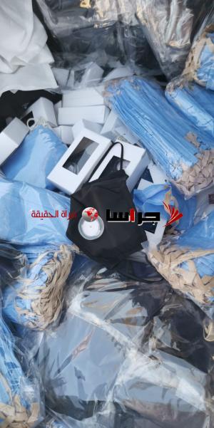 ضبط مصنع غير مرخص للكمامات الجراحية والقماشية بالزرقاء (صور)
