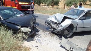 إصابة 7 أشخاص بتصادم 4 مركبات في اربد