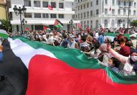 وقفة تضامنية مع فلسطين تتحول إلى مسيرة حاشدة