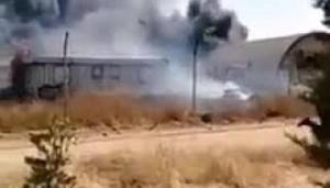 حريق في حرم جامعة العلوم والتكنولوجيا (فيديو)