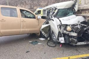 5 اصابات بتصادم مركبتين وقلاب بالقرب من جسر ماركا