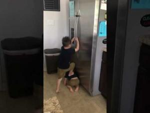شاهد ماذا فعل طفلان أمريكيان لفتح ثلاجة مقفلة (فيديو)