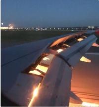 اشتعال محرك طائرة المنتخب السعودي (فيديو)