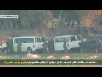 فيديو استهداف المقاومة حافلة الجنود الصهاينة ردا على غارات الاحتلال