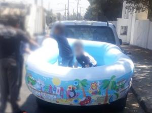 ضبط مسبح متنقل للأطفال في اربد