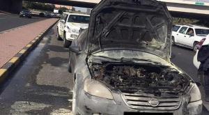 تماس كهربائي يتسبب بحريق مركبة في عمان