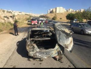 4 إصابات بتدهور مركبة واحتراقها على شارع الأردن