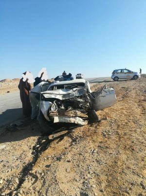 """وفاة سعوديين واجنبي بحادث تصادم على """"الصحراوي"""""""