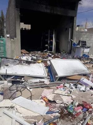 17 إصابة بحريق سوبر ماركت في المفرق (صور)