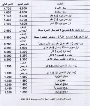 تخفيض أسعار 35 سلعة بالاستهلاكية المدنية