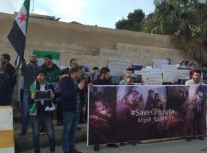 وقفة احتجاجية أمام الأمم المتحدة تضامنا مع الغوطة