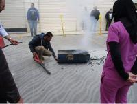 تدريب كوادر مستشفى المقاصد على أطفاء الحريق والاخلاء