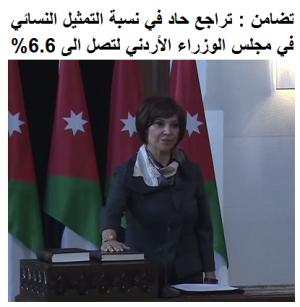 """""""تضامن"""": تراجع حاد بالتمثيل النسائي في مجلس الوزراء الأردني"""